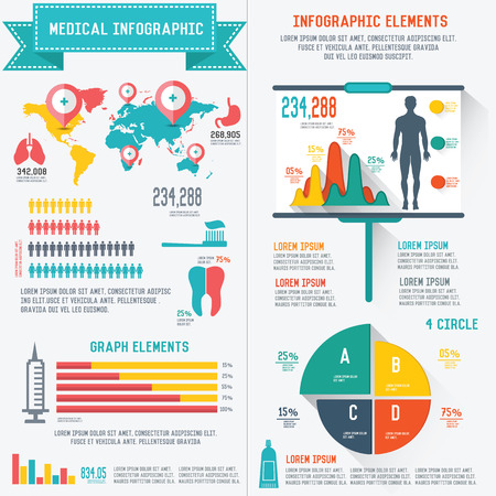 Medical info graphics design on white background,clean vector Vector