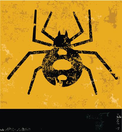 arachnophobia animal bite: Spider symbol on grunge yellow background,grunge vector