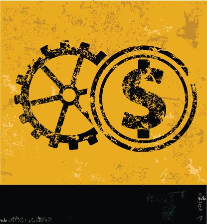 dollar sign icon: Gear money,clean vector