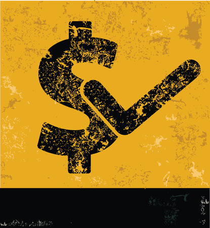 Dollar symbol on grunge yellow background,grunge vector Vector