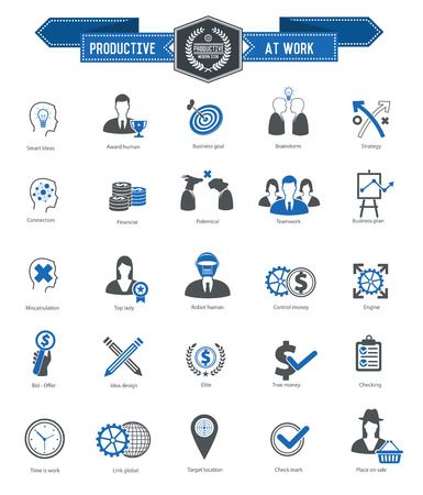 productive: Productive at work icons on white background,blue series,clean vector