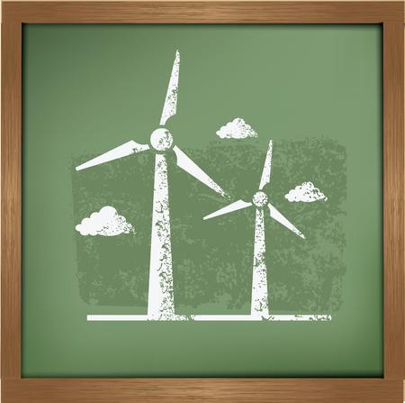 windfarm: Turbina eolica disegno su sfondo lavagna, vettore