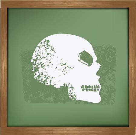 halloween tee shirt: Skull on blackboard background,grunge vector