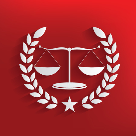 weighing scale: Justice scale on red background,clean vector Illustration