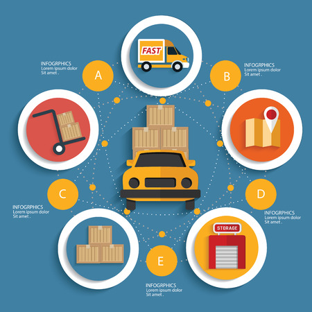 global logistics: Logistic concept on blue background,clean vector