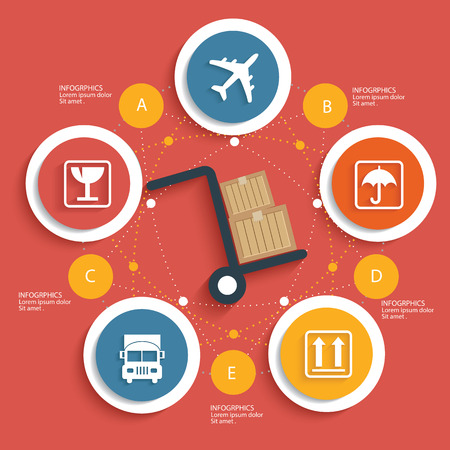 overnight: Logistic concept on red background,clean vector