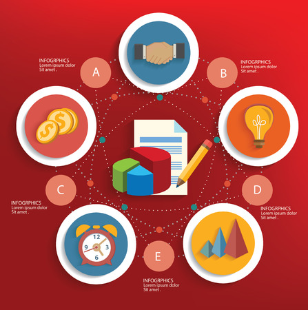 Strategy of business concept on red background,clean vector Vector