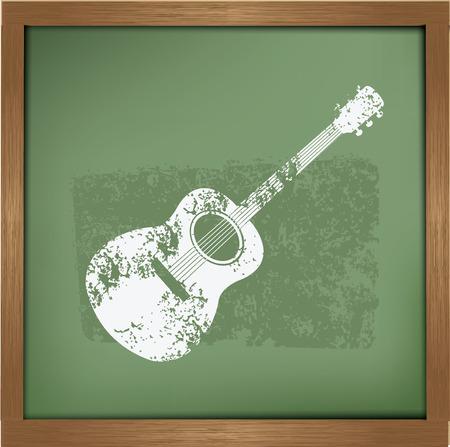 Guitar design on blackboard background,vector Vector