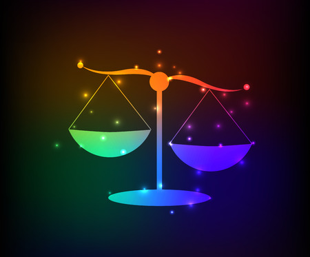scale of justice: Justice scale symbol,rainbow vector