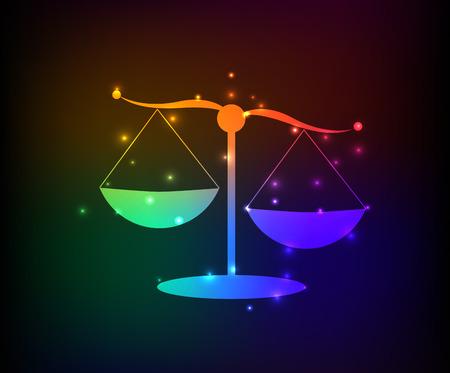 ungleichgewicht: Justice Waage Symbol, Regenbogen-Vektor