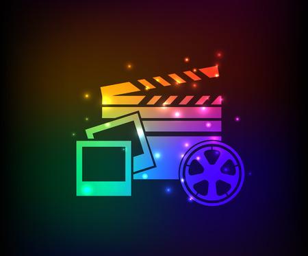 multi media: Multi simbolo dei media, arcobaleno vettore Vettoriali
