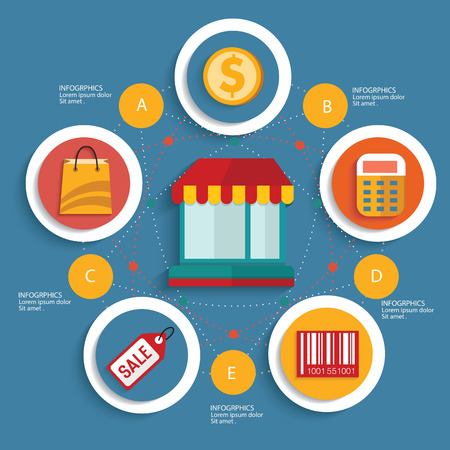 supermarket series: Shopping concept on blue background,clean vector