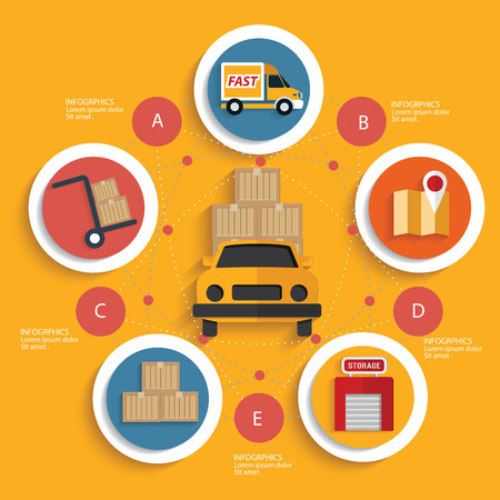 Logistic concept on yellow background,clean vector Vector