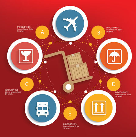 Logistic concept on red background,clean vector Vector