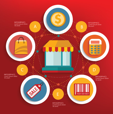 Shopping concept on red background,clean vector Vector