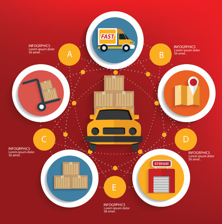 global logistics: Logistic concept on red background,clean vector