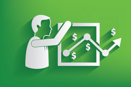 Analysis businessman design on green background,clean vector Vector