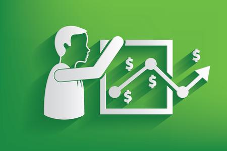 incarnate: Analysis businessman design on green background,clean vector