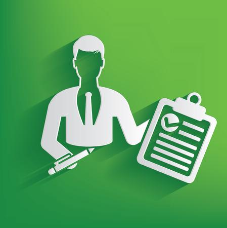Document businessman design on green background,clean vector
