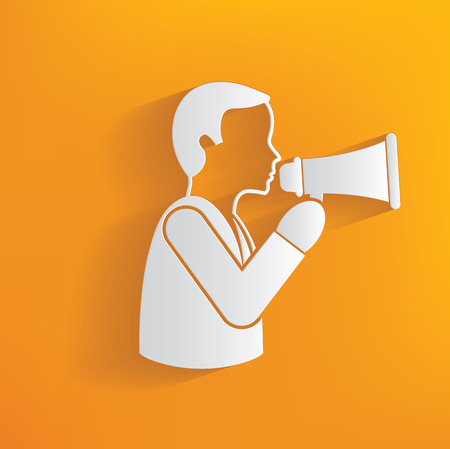commanding: Megaphone man, human resource on yellow background,clean vector