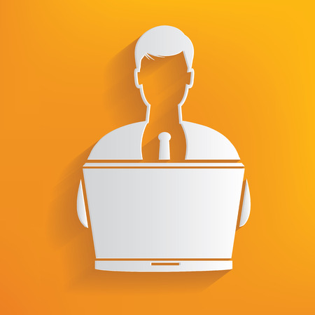 Working, human resource on yellow background,clean vector Vector