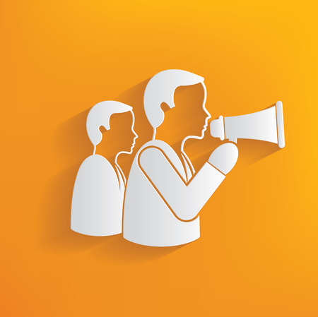 announcer: Announcer human resource on yellow background,clean vector Illustration