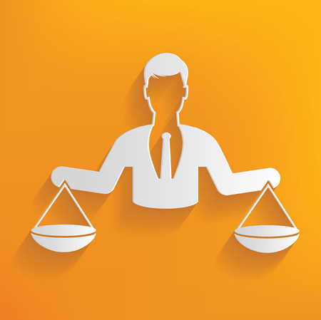justice: Justice scale, human resource on yellow background,clean vector