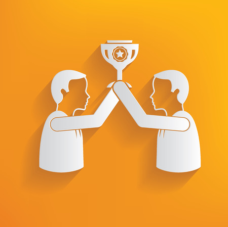 recompense: Trophy human resource on yellow background,clean vector