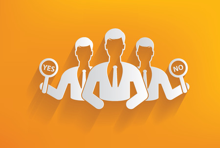 Yes or no, human resource on yellow background,clean vector Vector