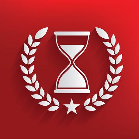 metering: Hourglass badge on red background,clean vector