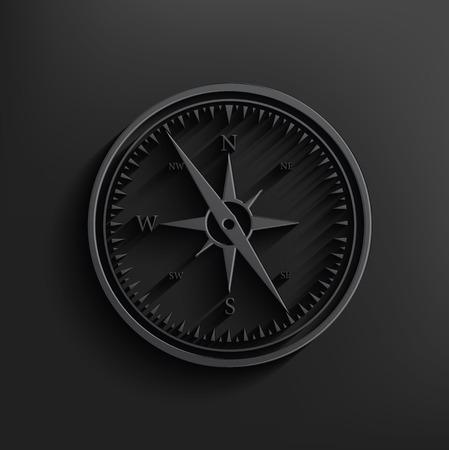 brujula: Br�jula sobre fondo negro, vector limpio