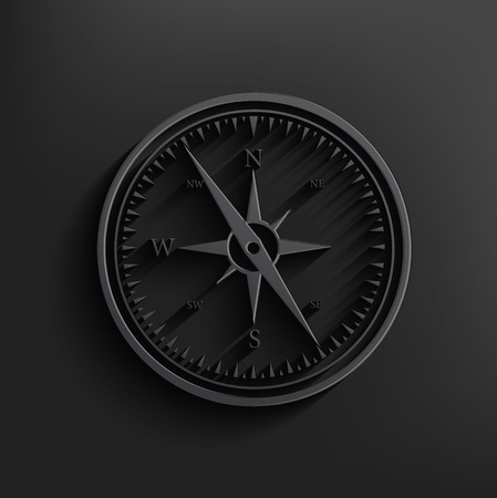dial compass: Compass on black background,clean vector Illustration