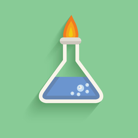 hotness: Science test symbol on green background,clean vector