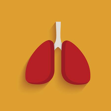 signos vitales: Símbolo de pulmón en el fondo amarillo, vector limpio Vectores