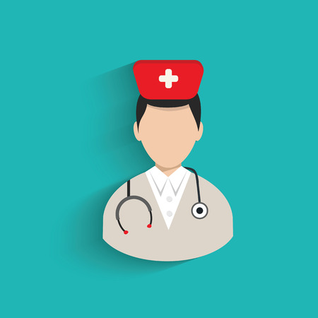 physiotherapist: Doctor symbol on blue background,clean vector Illustration