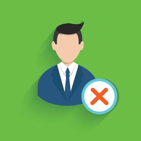 Cross businessman symbol on green background Vector