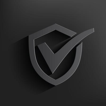 Checking badge symbol on dark background Vector
