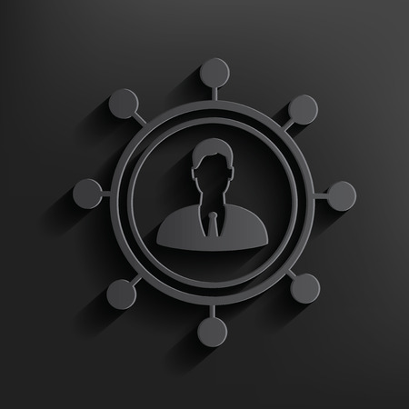 multi racial: Human connection symbol on dark background Illustration