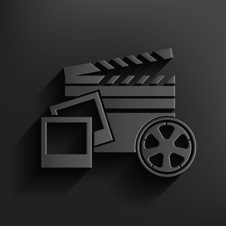 multi media: Multi simbolo dei media su sfondo nero, vettore pulito