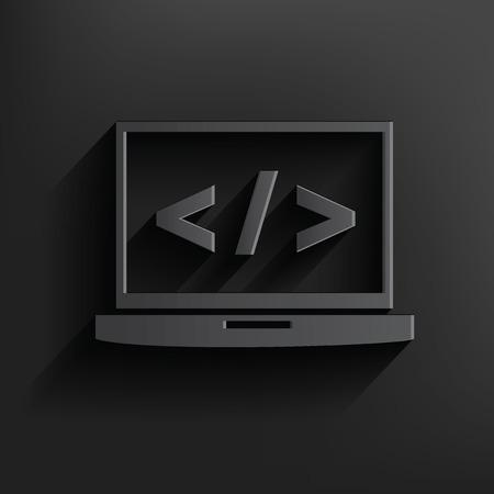 web hosting: Coding laptop symbol on dark background