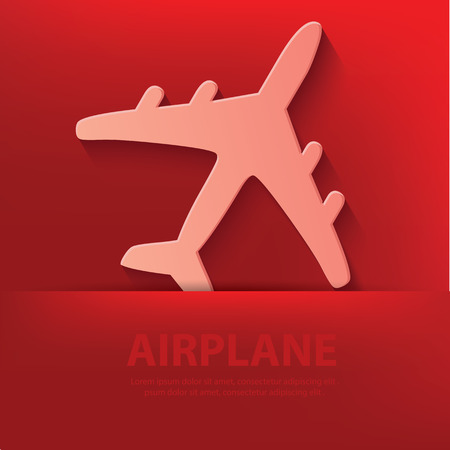 Airplane symbol on red background Vector