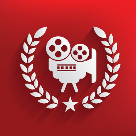 Movie badge on red background,clean vector Vector