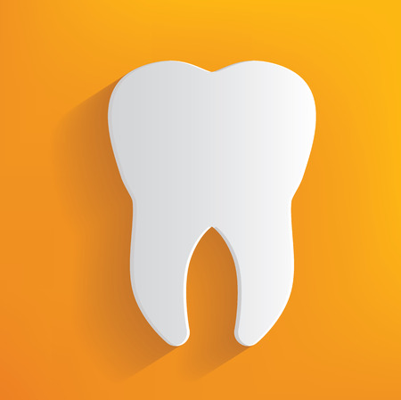 Teeth concept on yellow background,clean vector Vector