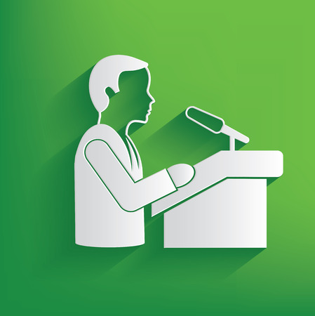 Announce businessman design on green background,clean vector Vector