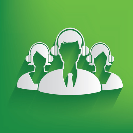 toll free: Call center design on green background,clean vector