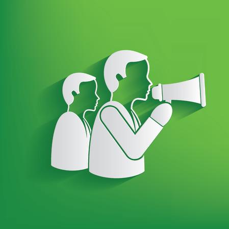 businessman using a megaphone: Announce businessman design on green background,clean vector