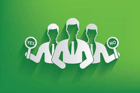 Selection yes or no businessman design on green Vector