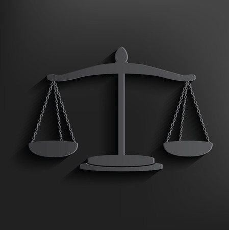 Justice scale symbol on black background,clean vector
