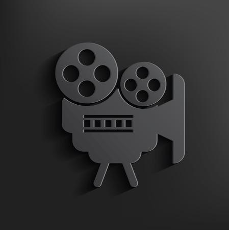 Movie symbol on black background,clean vector Vector