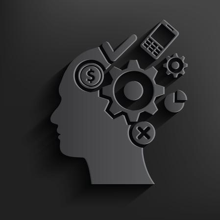 brain storm: Brain storm symbol on black background,clean vector
